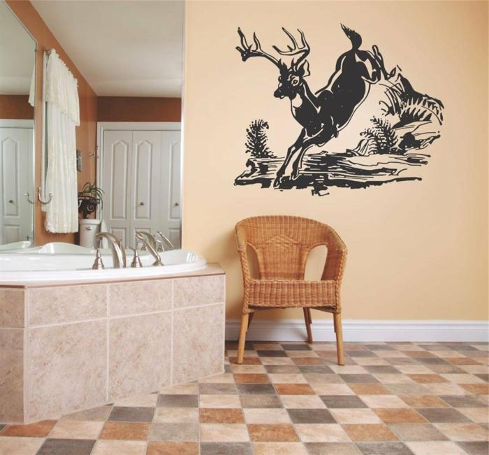 vinilos cocina, decoración de paredes con vinilo de ciervo corriendo, baño con bañera y baldosas marrón y beige