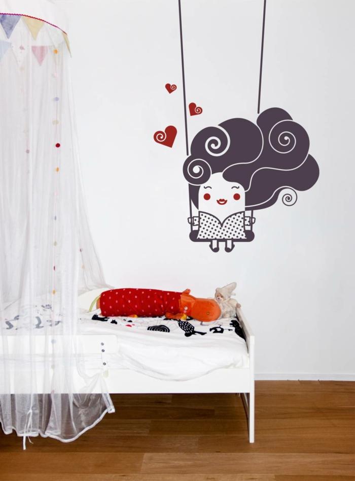 vinilos infantiles, idea de decoración para habitación de niño. vinilo de color con personaje de ficción sobre columpio