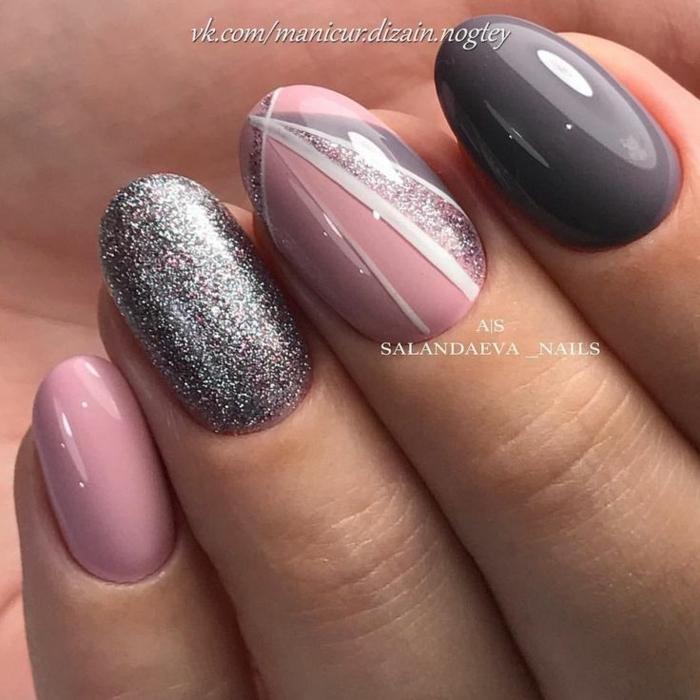 uñas de gel decoradas, preciosa combinación еn rosado, gris y brocado plateado, uñas largas ovaladas