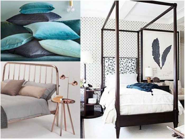 tonos de azul, tendencias 2018 para dormitorios, accesorios en colores de moda, cama de madera con marco grande y alto, toque vintage