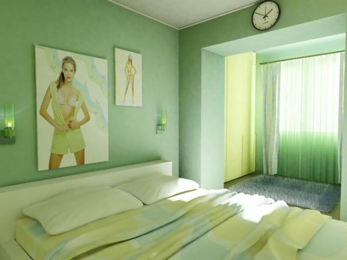 combinaciones de colores, habitación en verde menta, fotos en las paredes, dormitorio luminoso con cortinas de visillo