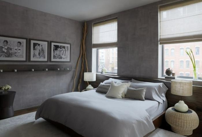 como pintar una habitacion, paredes en gris oscuro, habitación moderna con decoración minimalista, estores modernos en beige