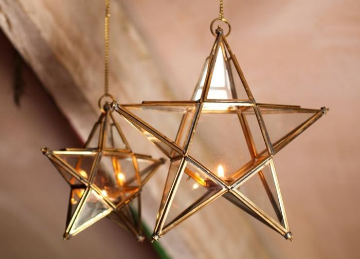 estrella navidad, adorno navideño tridimensional dorado en forma de estrella con pequeña vela dentro