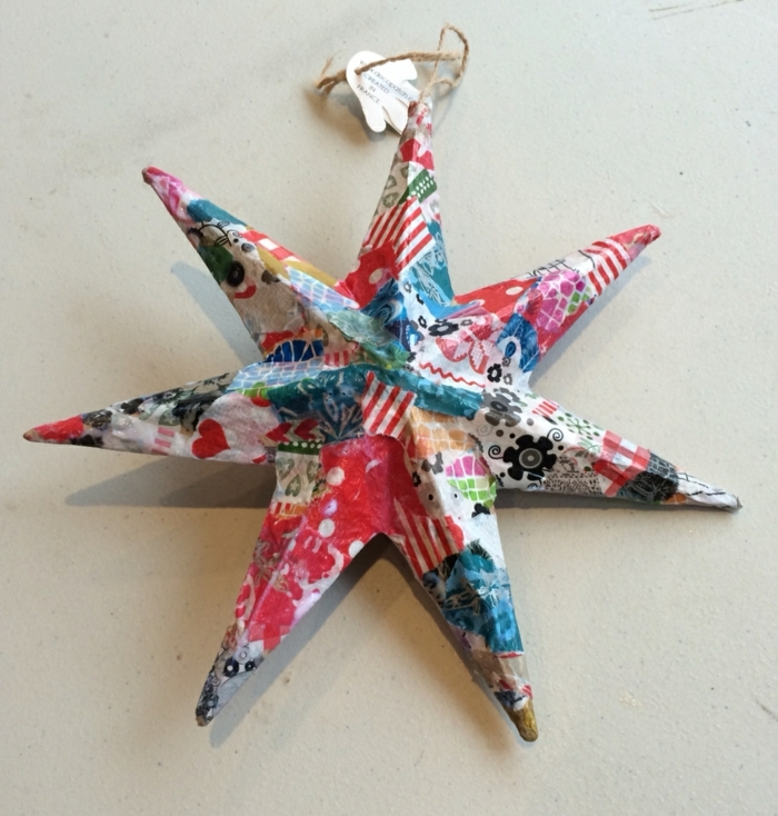 estrella navidad, manualidades faciles navideñas con decoupage, estrella de ocho puntos con diferentes dibujos