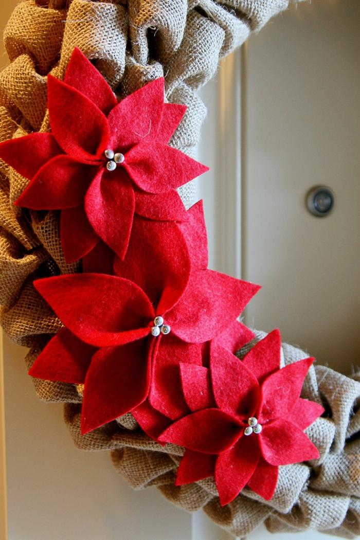 estrella navidad, hermosa guirnalda navideña hecha de arpillera en pliegues, decoración de estrellas de navidad de lana roja
