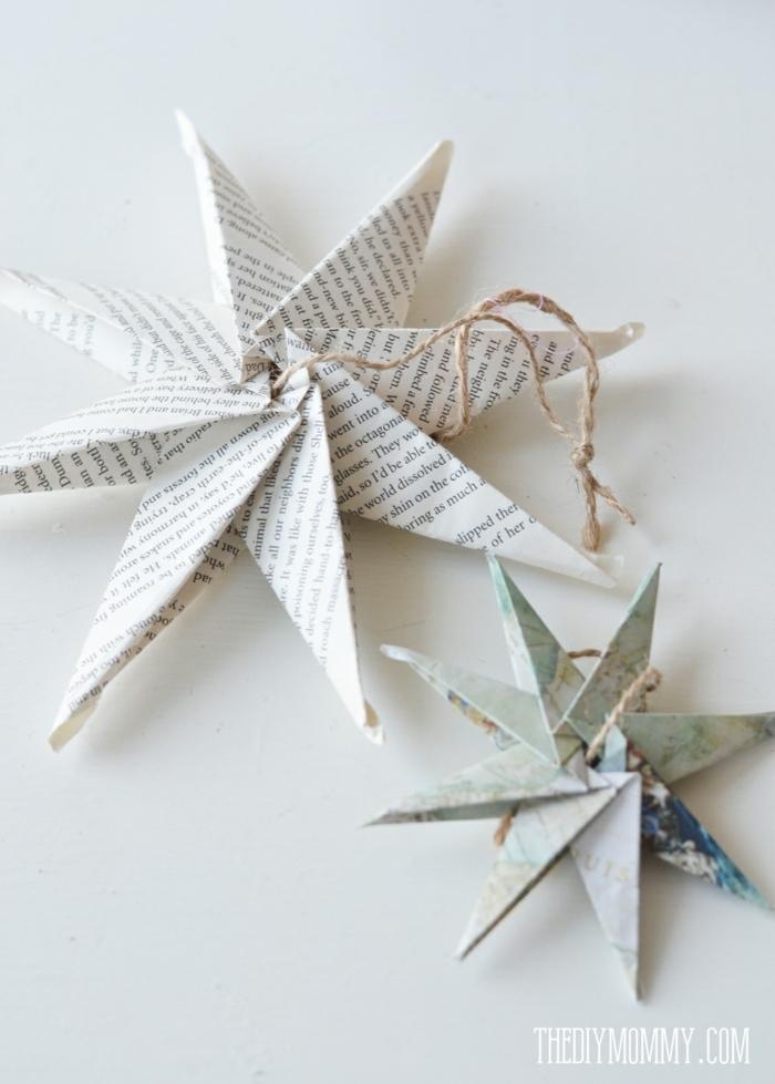 como hacer estrellas de papel, juguetes para el árbol navideño en forma de estrellas de ocho puntas, papel reciclada
