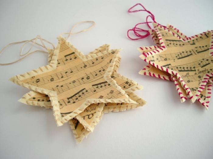 como hacer estrellas de papel, bonitos adornos en forma de estrellas hecho de partituras viejas