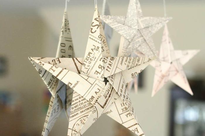 como hacer estrellas de papel, adornos colgantes en forma de estrellas de cinco puntos, manualidades de papel reciclada