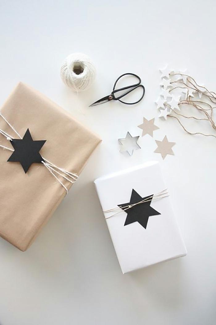 como hacer estrellas de papel, decoración de embalaje con estrellas, estrella de seis puntas, tijeras, hilo y moldes