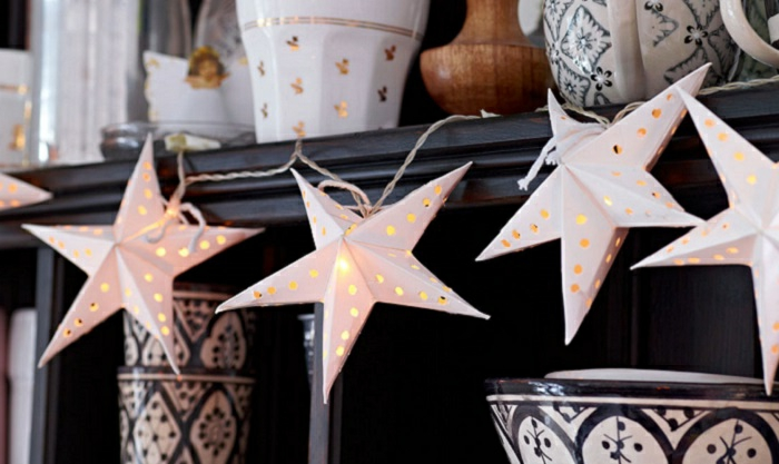 tipos de estrellas, idea muy original de estrellas tridimensionales con lámparas dentro, manualidad fácil y atractiva
