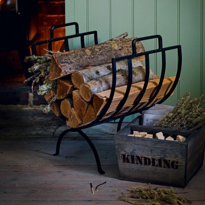 chimenea, bonito almacenamiento de madera decorativo, caja de madera, suelo de parquet
