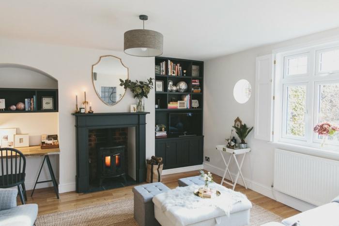 estufas de leña con horno, salón en estilo provenzal en blanco, muebles en capitoné, armario con libros en negro