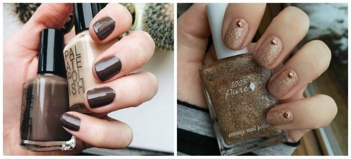 modelos de uñas, ideas de uñas cortas pintadas en colores otoñales, propuesta en marrón oscuro y brocado en beige