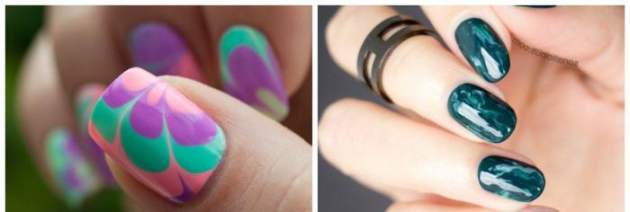 uñas largas, dos ejemplos de diseños modernos en uñas largas en forma cuadrada y ovalada, últimas tendencias 2018