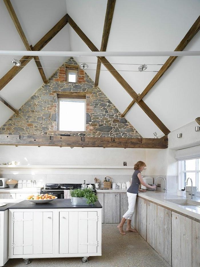 1001 ideas de decoraci n con pared de piedra o ladrillo for Cocinas con pared de piedra