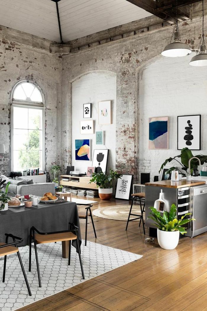 1001 ideas de decoraci n con pared de piedra o ladrillo - Paredes de salon ...