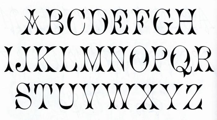 tipo de letras para tatuajes, diseño de fuente para tatuajes con motivos florales, alfabeto con letras mayúsculas