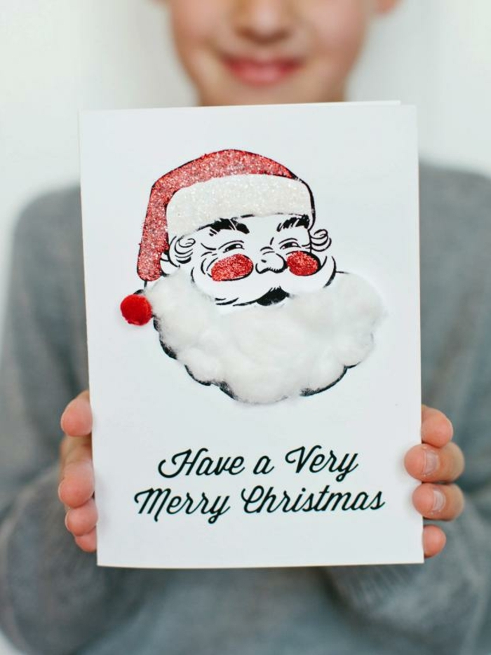 como hacer adornos de navidad, tarjeta original y simpática decorada con purpurina y algodón, propuestas caseras para niños