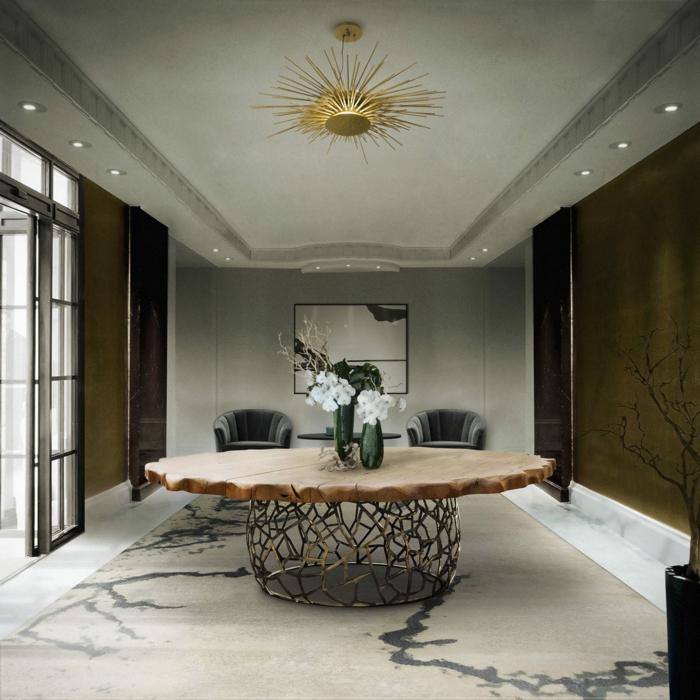 muebles de salon, comedor espacioso y moderno, silla vanguardista de encimera de madera, lámparas empotradas en el techo