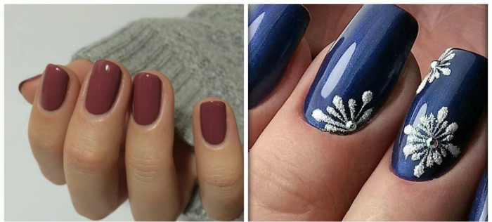 uñas largas, dos ejemplos de diseños de uñas modernos diferentes, diseño de uñas cortas en color bordeos, manicura larga en azul con decoración en blanco