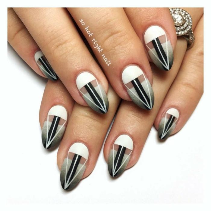 uñas largas, uñas largas en forma de almendra, elementos gráficos en blanco, negro y gris