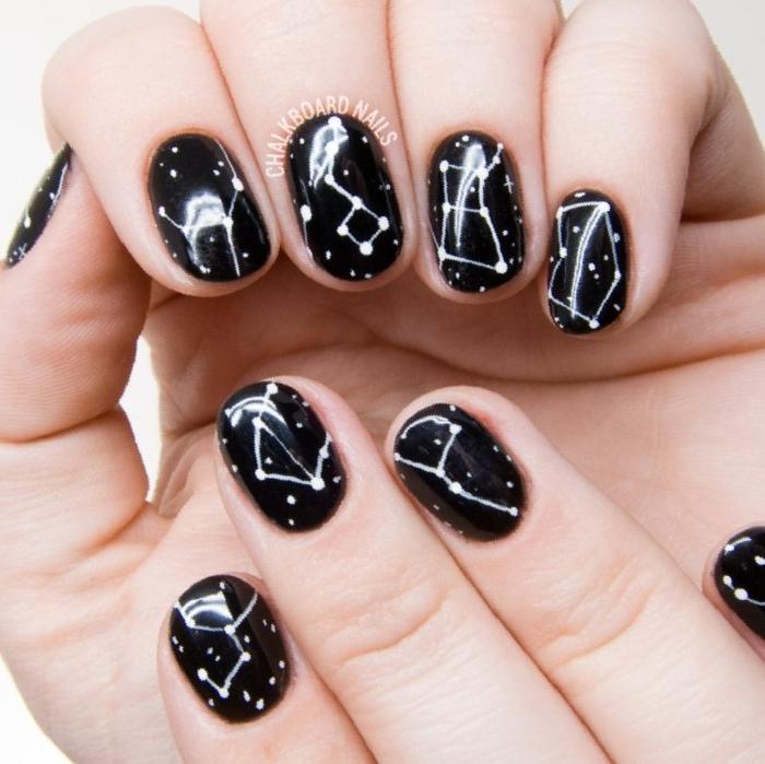 fotos de uñas pintadas, uñas en negro con decoración original en blanco con los signos del zodíaco