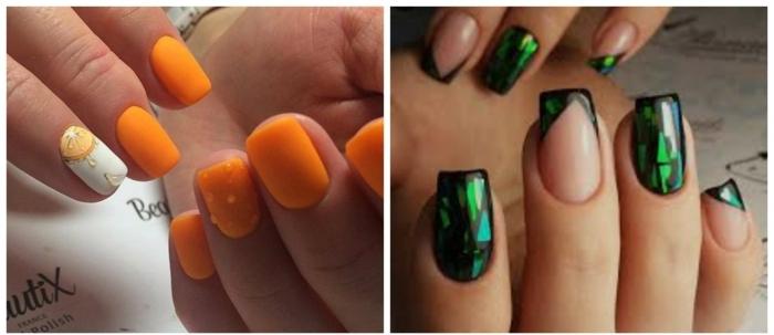 decoracion de uñas, tendencias en la manicura 2018, uñas con decoración que imita vidrio, uñas en color naranja llamativo