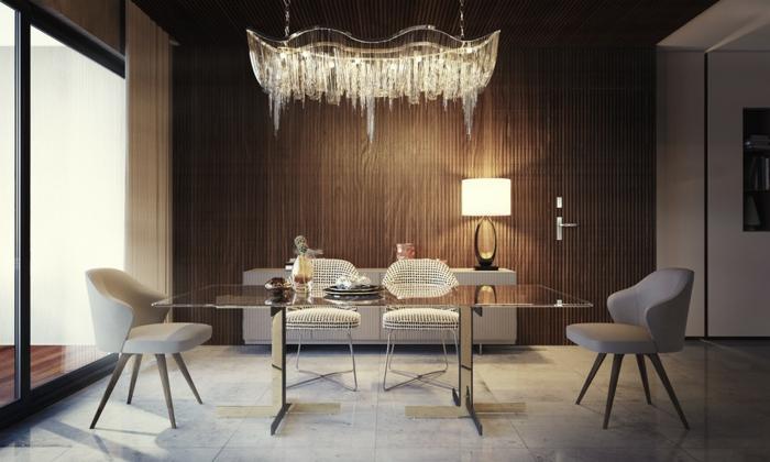comedor moderno, punto focal en la lámpara de diseño muy original, mesa moderna de vidrio, sillas en gris, grandes ventanales de vidrio