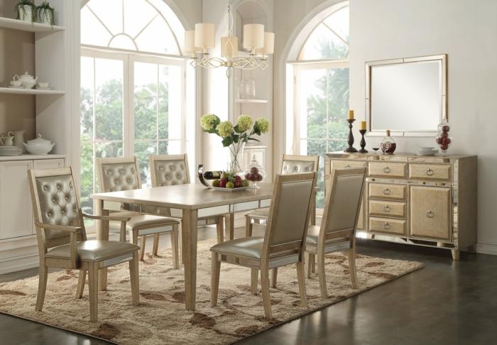 muebles de comedor, comedor luminoso en blanco con ventanas preciosas, mesa en beige decorada con flores