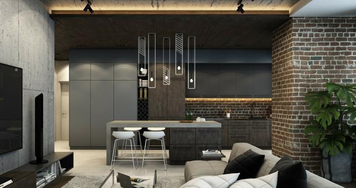 1001 ideas de decoraci n con pared de piedra o ladrillo - Decoracion columnas salon ...