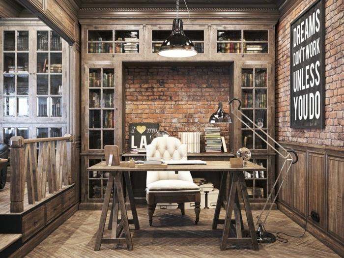 ladrillo visto, habitación de trabajo estilo industrial, escritorio y estanterías de madera, silla tapizada, paredes de ladrillo