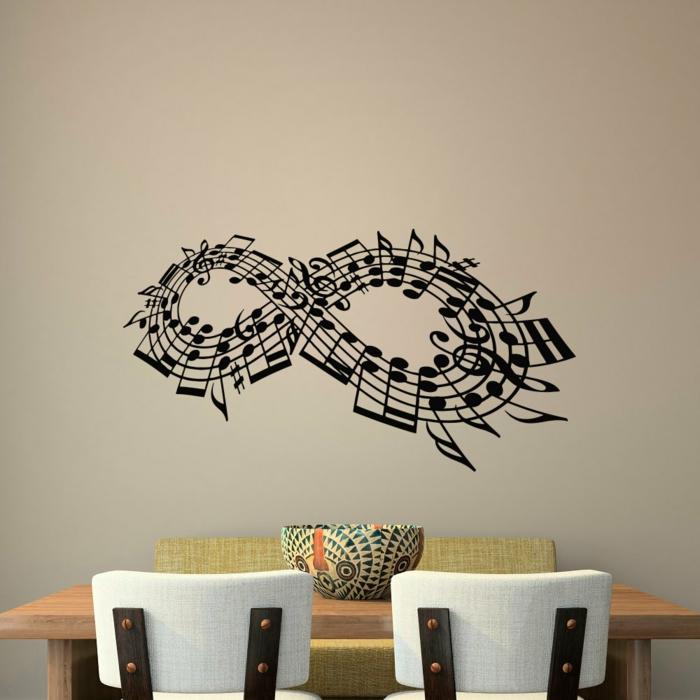 vinilos baratos, decoración de paredes para comedores, vinilo con pentagrama y notas en el símbolo del infinito sobre la mesa