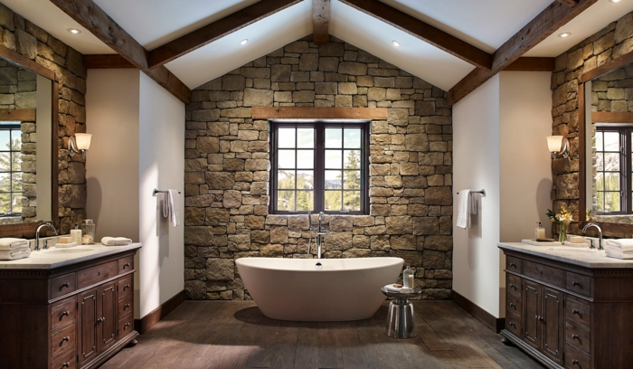 ladrillo caravista, decoración rustica baño, dos lavabos gemelos, ventana sobre bañera blanca, techo triangular, pared de piedra rústica
