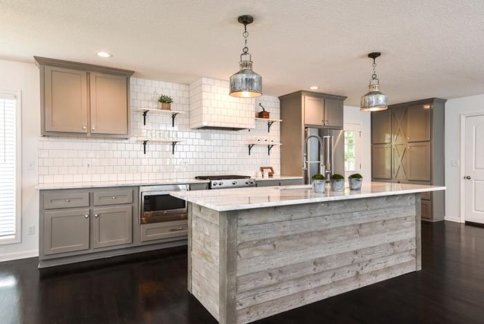 1001 ideas de decoraci n de cocina americana for Cocinas con suelo gris oscuro