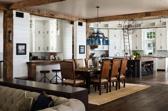 barras de cocina, interior en estilo rústico con comedor tradicional y cocina con barra de madera