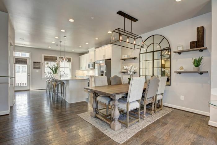 muebles de salon modernos, salon espacioso con cocina y comedor, paredes y muebles en blanco y colores claros, lámparas empotradas en el techo
