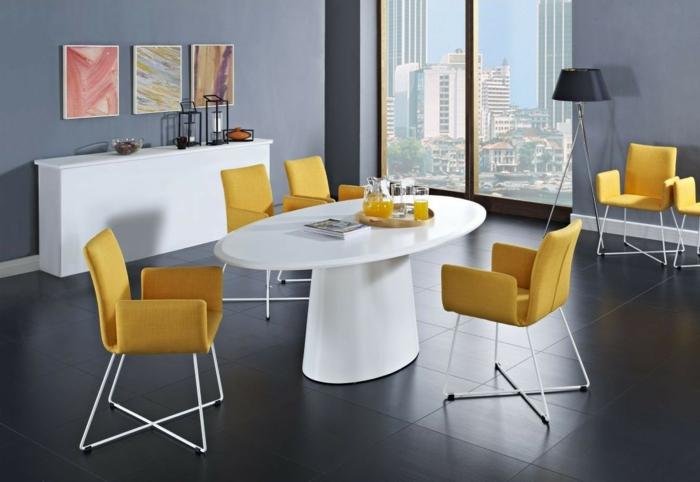 muebles de salon modernos, comedor con vista y muebles modernos, sillas en amarillo mesa blanca oval, suelo y paredes en gris