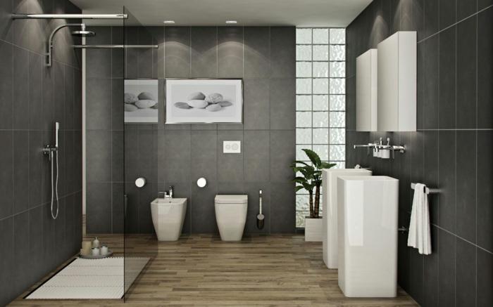 baños pequeños con ducha, baño en blanco y gris, suelo con parquet, lavabo doble, ducha de obra con rejilla blanca, mampara de vidrio