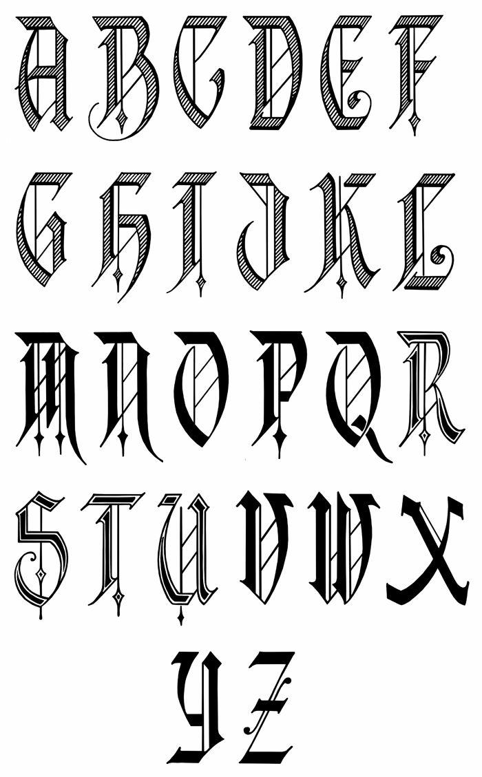 tipos de tatuajes, diseño de fuente para tatuajes estilo letras celtas, mayúsculas en negro y gris