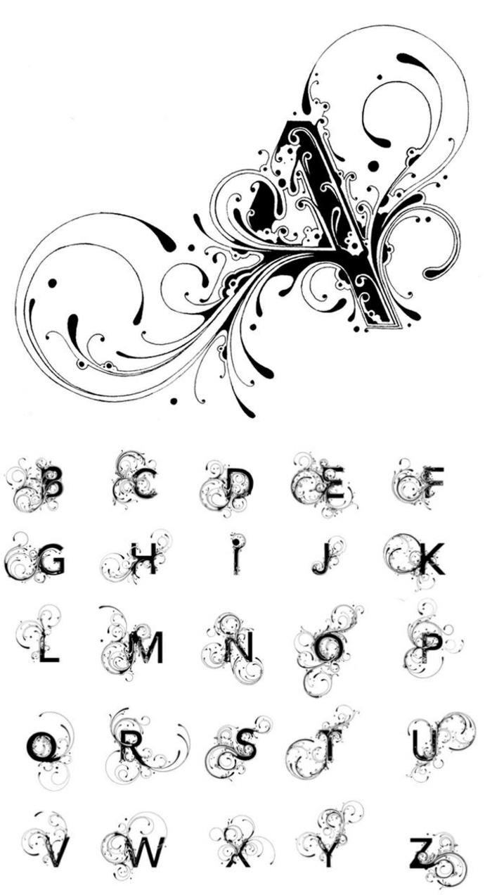 tipos de tatuajes, fuente personalizado con letras en negro sólido y adornos, plantilla de alfabeto gratis