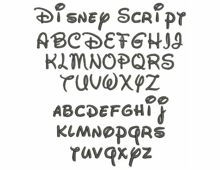 tatuajes letras, ejemplo de fuente para tatuajes inspirado en las letras usadas por Walt Disney, letras mayúsculas y minúsculas