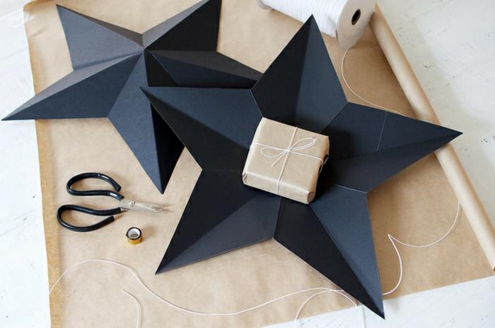 estrellas navidad, decoración de Navidad que puede servir de embalaje de los regalos de navidad, manualidades paso a paso