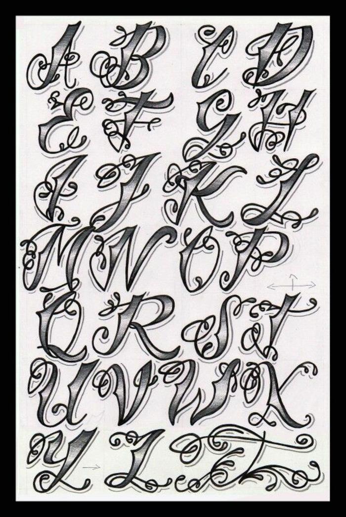 letras para tatuajes, ejemplo de fuente para tatuajes estilo grafiti en gris y negro, alfabeto con letras mayúsculas