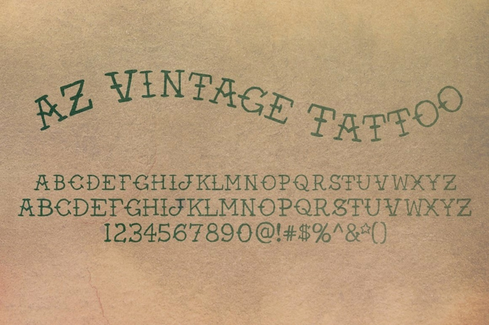 letras para tatuajes, idea de fuente para tatuajes estilo vintage, alfabeto con letras mayúsculas, números y signos
