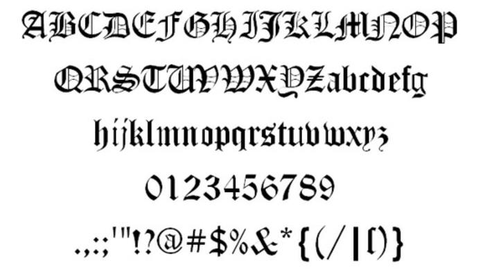 letras para tatuajes, fuente de tatuaje con letras mayúsculas y minúsculas estilo inglés antiguo, números y signos