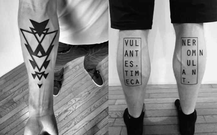 tatuajes letras, hombre con pantorillas tatuadas, texto dividido entre las piernas con letras mayúsculas en rectángulos