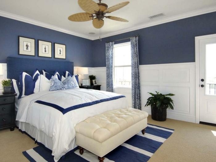 como pintar una habitación, dormitorio espaciosos en blanco y azul, combinación elegante, muebles en estilo clásico, plantas decorativas