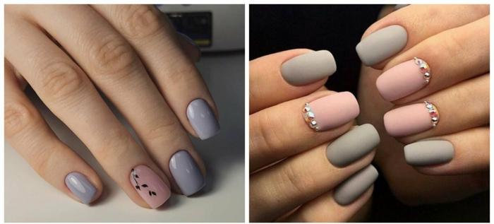 uñas largas, ejemplo de diseños de uñas en colores pastel, combinación de rosado y gris en uñas de forma cuadrada