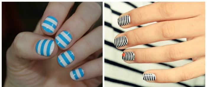 dibujos faciles de hacer, las rayas predominan entre las tendencias esta temporada, uñas cortas en dos colores con motivos de rayas