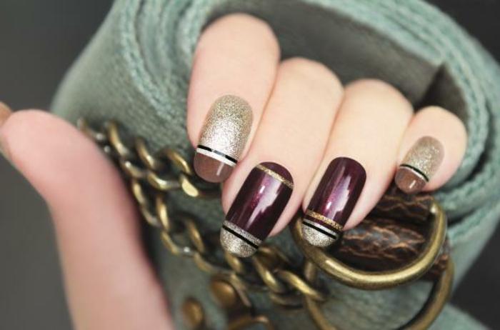 modelos de uñas, precioso ejemplo de uñas largas en forma ovalada, pintadas en marrón, bordeos y dorado